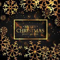 snygga gyllene snöflingor på svart bakgrund för julfest