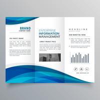 modelo de design de brochura de negócios com três dobras onda azul