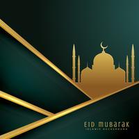 elegante eid festival cartão design com silhueta de Mesquita