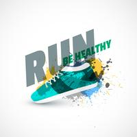 sport shoes abstract background with ink splash