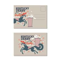 Postcard Horse Racing Ladies Luncheon with Mint Julep on Kentucky Derby Party