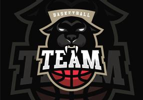 Mascota del baloncesto de la pantera negra vector