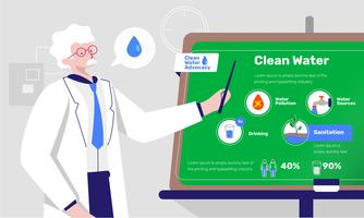 Clean Water Advocacy Infographic Vector Flat Illustration