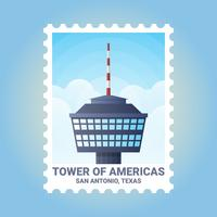 San Antonio Texas Estados Unidos Stamp Illustration