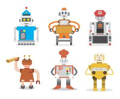 vector de trabajadores robot
