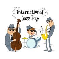 Grupo de jazz tocando música vestindo terno cinza e óculos de sol preto