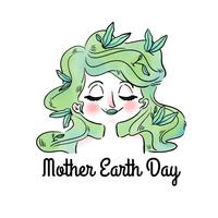 Cute Woman With Green Hair And Leaves To Mother Earth Day
