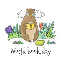 Cute Bear Reading Book Seating Around Leaves And Books