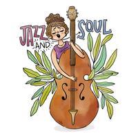 Chica tocando el instrumento de jazz con hojas alrededor