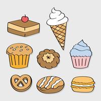 Dibujado a mano dulces y dulces