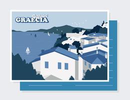 Vector de la postal de Santorini