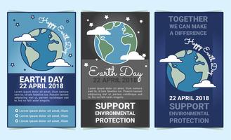 Vector Earth Day Set of Flyers