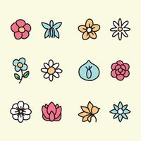 Outlined Floral Icons vector