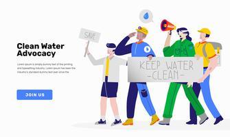 Manifestation pour économiser l'eau illustrée par un vecteur d'activiste de Clean Water