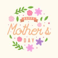 Flat Happy Mothers Day kaart Vector