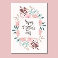 Happy Mother's Day Card with Floral Frame Vector