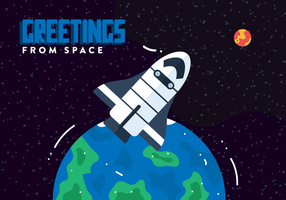 Space Postcard Vector