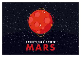 Vecteur de carte postale de Mars