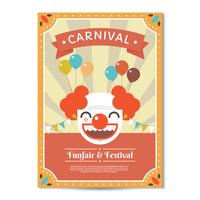 Carnival Poster with Clown Template Vector