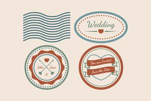 Vintage Wedding Stamp Vectors