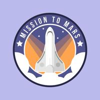 Flat Mission to Mars Patch Vector
