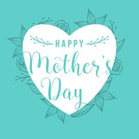 Flat Happy Mothers Day Card Vector