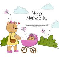 Cute Mom Bear With Baby Carriage With Baby Bear Inside