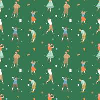 Vintage Golf Seamless Pattern Vector