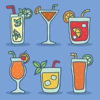 Cocktail On Blue Vector