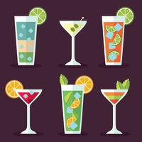 Flat Cocktail Collection Vector