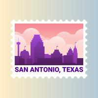 San Antonio Texas Skyline United States Stamp Illustration