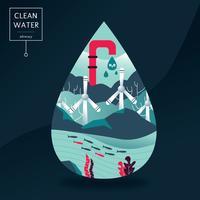 Diseño vectorial de defensa del agua limpia