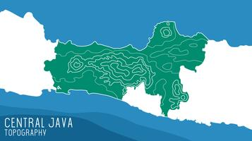 Vector de mapa topográfico de Java central