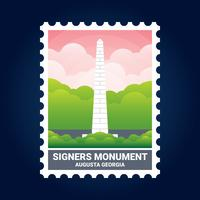 Signers Monument Illustration Augusta Georgia Estados Unidos Stamp