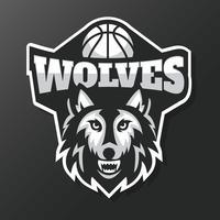 Vetor de mascote de basquete de lobos