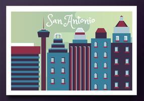 Diseño del vector de la postal de San Antonio