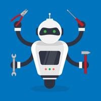 Futuristic Humanoid And Small Mechanic Robots Illustration