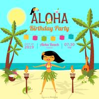 Cartoon Polynesian Birthday Party Vector Card