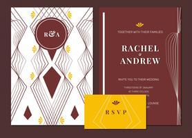 Paquete de plantilla de vector de invitación de boda Art Deco de oro granate premium