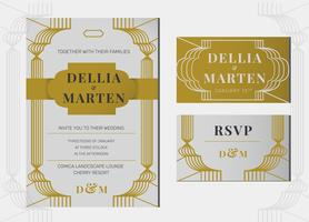 Grey Gold Art Deco Line Art Wedding Invitation Template Vector