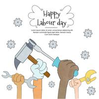 Hands With Construcion Tools And Nuts To Labour Day vector