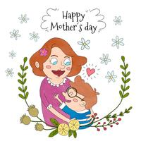 Mignonne femme maman tenant enfant avec des fleurs et des feuilles au-dessus et fleurs blanches autour