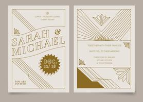 Brown Vintage Art Deco Wedding Invitation Vector Template