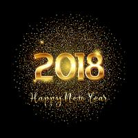 Happy new year gold text background  vector
