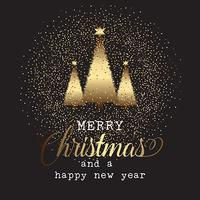 Gold Christmas tree background  vector