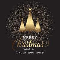Fondo de oro del árbol de Navidad
