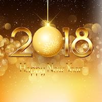 Happy New Year background with gold text and bauble