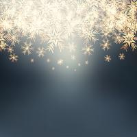 Fundo de flocos de neve de Natal dourado