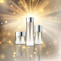 Christmas cosmetic bottles display background vector