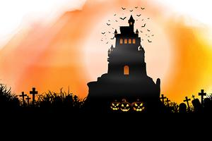 Halloween background on watercolour texture